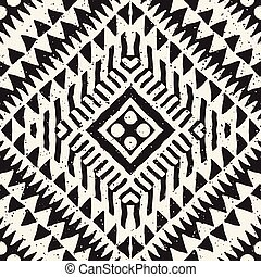 Seamless Ethnic And Tribal Pattern Hand Drawn Ornamental Stripes Black White Print For