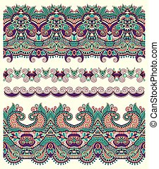 seamless ethnic floral paisley stripe pattern, border set, ...