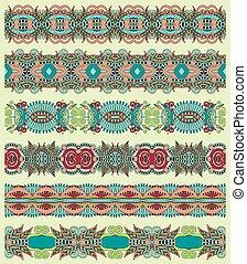 seamless ethnic floral paisley stripe pattern, border set,...