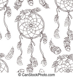 Seamless ethnic ornate dreamcatcher pattern