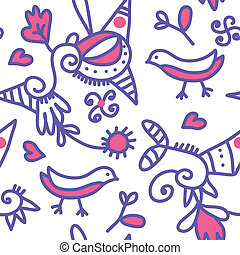 Seamless ethnic pattern with birds and abstract objects