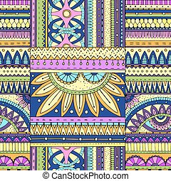 Seamless ethnic pattern with geometric elements.