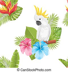 Seamless Exotic Pattern with Parrot Cockatoo and Tropical Leaves and Flowers