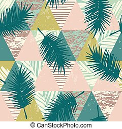 Seamless exotic pattern with tropical plants and geometric...