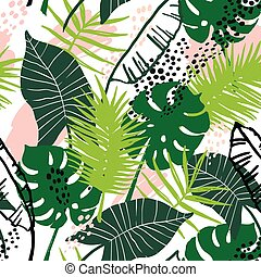 Seamless exotic pattern with tropical plants. Vector hand...