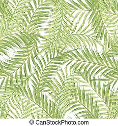 Seamless exotic pattern with tropical leaves  on a white background. Vector illustration. Watercolor imitation. Oil paint imitation. Not trace.