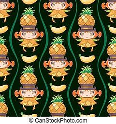seamless, färgrik, mönster, med, ananas, frukt, girl., vektor, bakgrund