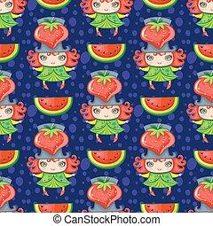 seamless, färgrik, mönster, med, jordgubbe, frukt, girl., vektor, bakgrund