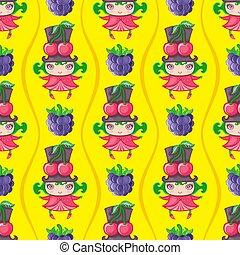 seamless, färgrik, mönster, med, körsbär, frukt, girl., vektor, bakgrund