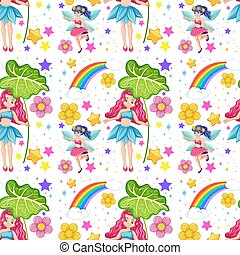 Seamless fairy tales with rainbow and flowers cartoon style on white background