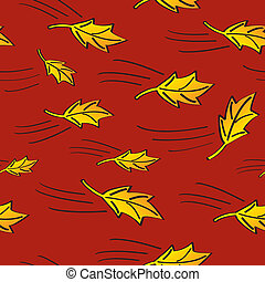 Seamless Fall Leaves Blowing