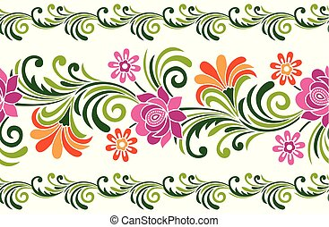 Seamless fancy floral border