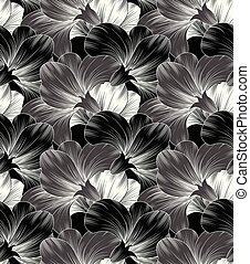 Seamless fancy floral monochrome background