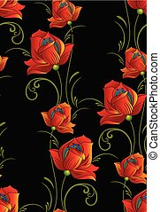 Seamless fancy floral pattern on black background