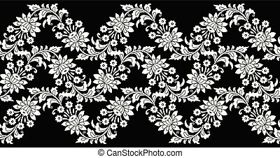 Seamless fancy vector flower border