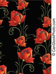 seamless, fantasia, padrão floral, ligado, experiência preta