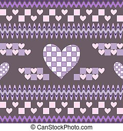Seamless fantasy pattern with hearts