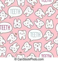 seamless, farverig, tænder, pattern., vektor, illustration.