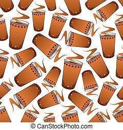 Seamless fast food coffee pattern background