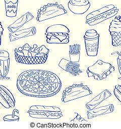 Seamless Fast Food Icon Set