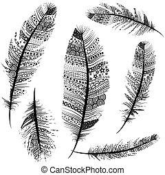 Seamless Vintage Tribal Feathers Pattern vector set illustration background sketch.