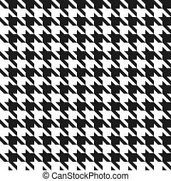 seamless, fekete-fehér, houndstooth, vektor, pattern.