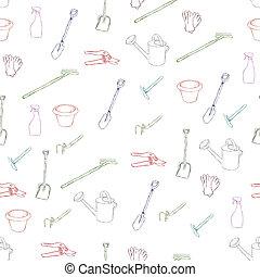 seamless, felszerelés, kert, motívum