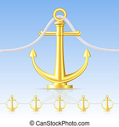 Seamless fence featuring an gold anchor.