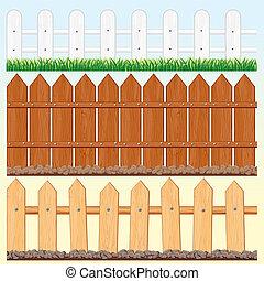 Seamless Fences Set - Set of vector Seamless Wooden Fences...