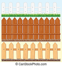 Seamless Fences Set - Set of vector Seamless Wooden Fences...