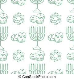 seamless, feriado, hanukkah, vector, judío, patrón