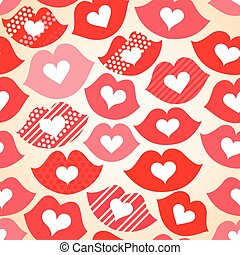 Seamless festive background with lips and hearts