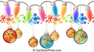 Seamless festive Christmas garland with glass balls