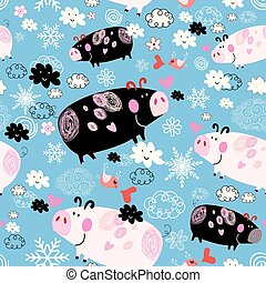 Seamless festive New Year's pattern with pigs