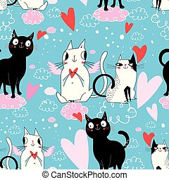 Seamless festive pattern with cats in love
