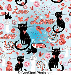Seamless festive pattern with lovers cats