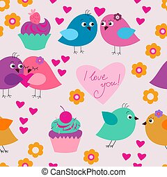 Seamless festive texture with birds in love and cupcakes