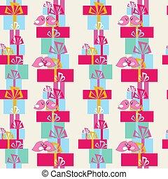 seamless, festivo, patrón, con, regalos, y, aves