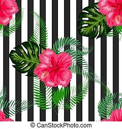 seamless, feuilles, paume, fleurs, pattern., arrière-plan.,...