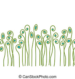 This is a scalable seamless vector pattern of whimsical fiddle fern.