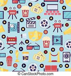 seamless, film, och, bio, bakgrund, design