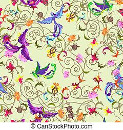 seamless, fiori, uccelli