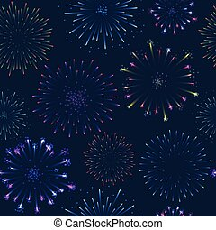 Seamless firework pattern, salute on dark background, vector...