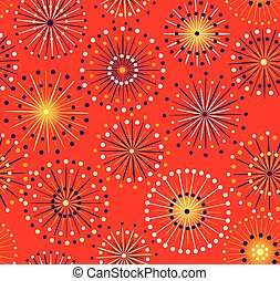 Seamless fireworks pattern - Japanese festival seamless red...