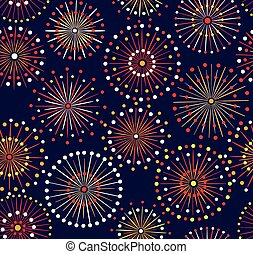 Seamless fireworks pattern - Japanese festival seamless...