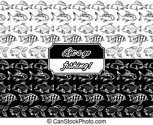 seamless, fish, frontières, monochromic