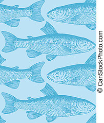 seamless fish pattern (vector) - seamless fish pattern with...
