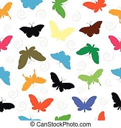 seamless, fjäril, mönster, bakgrund.