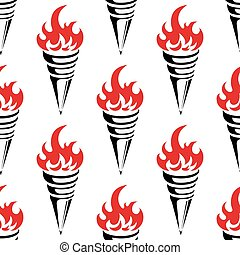 Seamless flaming torches background in vintage style