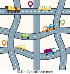 Seamless flat cartoon road pattern